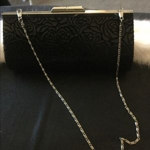 Unbranded Black Rose Burnout Clutch w Silver Chain
